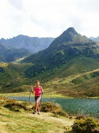 lakes and mountains in pyrenees walking trail